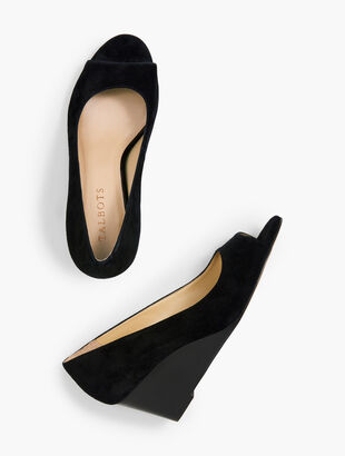 Royce Peep-Toe Wedges - Suede