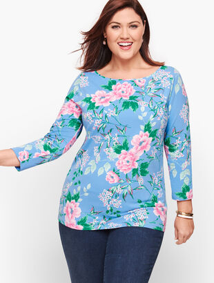 Cotton Bateau Neck Tee - Beautiful Blossoms