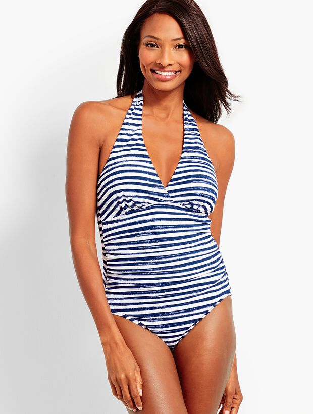 Stripe Ruched Halter One-Piece