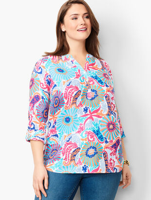 Linen Camp Shirt - Filigree Floral
