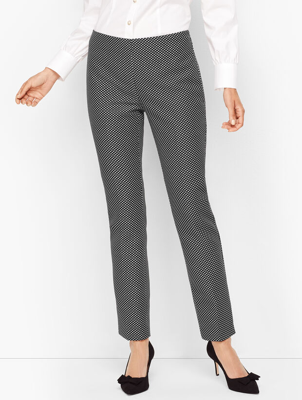 Shimmering Jacquard Tailored Ankle Pants
