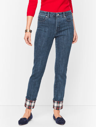 Straight Leg Jeans - Plaid Cuff