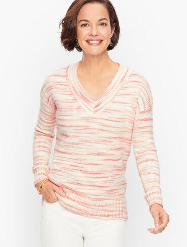 Cozy V-Neck Sweater - Winter Space Dye