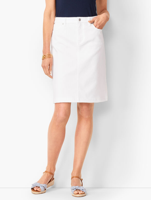 Classic Denim Skirt - White