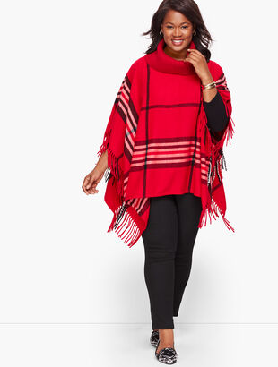 Plus Size Fringed Poncho - Plaid