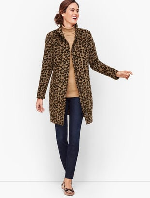 Albury Wool Stadium Coat - Jacquard Animal Print