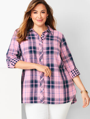 Classic Cotton Shirt - Lapis Plaid