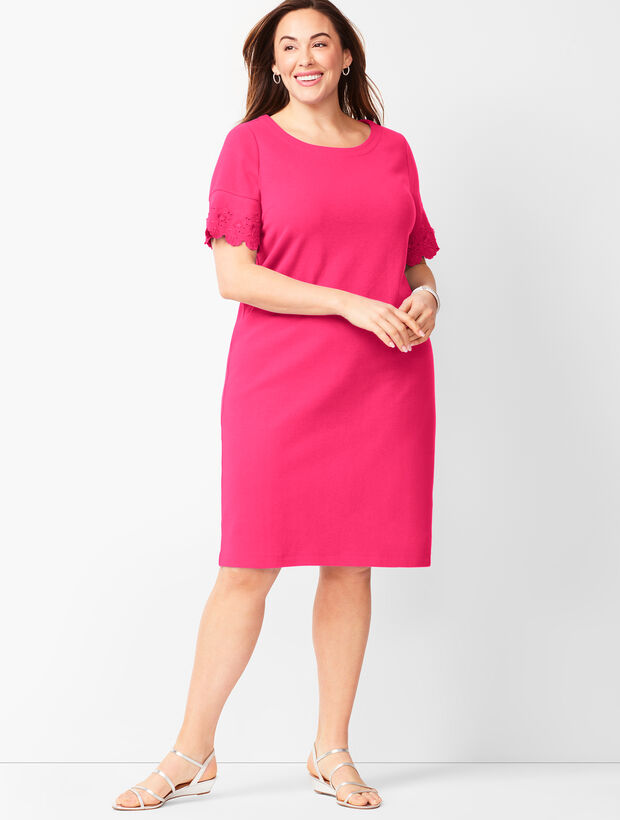 Embroidered-Sleeve Shift Dress