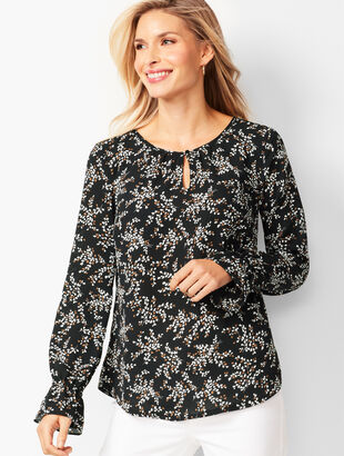 Gathered Sleeve Blouse - Floral