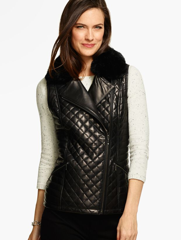 Quilted Leather Moto Vest