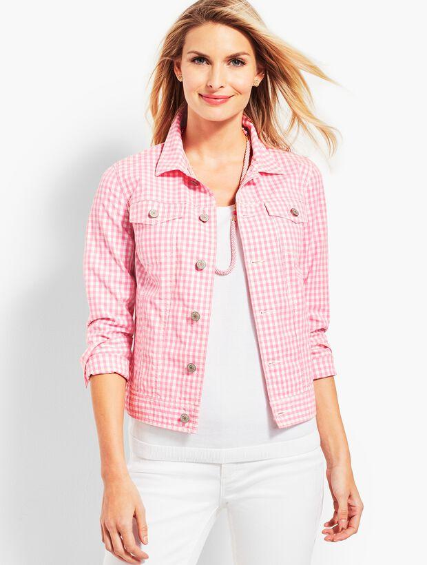 Pink Gingham Denim Jacket