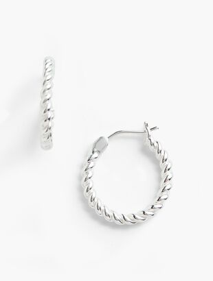 Rope Hoop Earrings - Sterling Silver