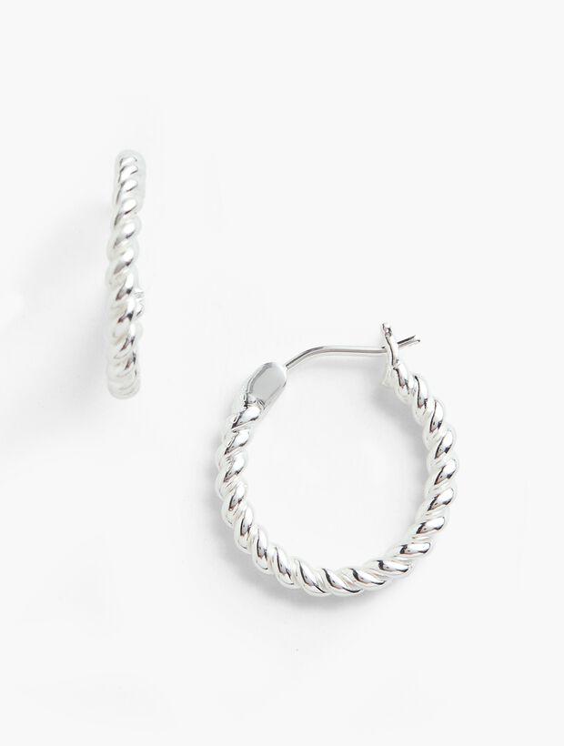 Rope Hoop Earrings - Sterling Silver