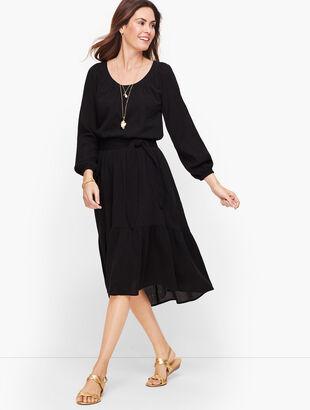 Gauze Flounce Hem Midi Dress