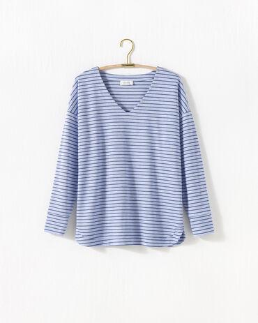 Marled Knit Striped V-Neck Tunic
