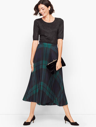Black Watch Plaid Pleated Skirt