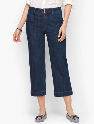 Wide-Leg Crop Jeans - Deep Azure