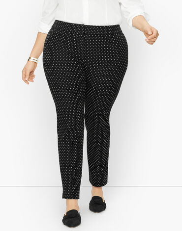 Plus Size Exclusive Talbots Chatham Fly Front Ankle Pants - Fresh Dot