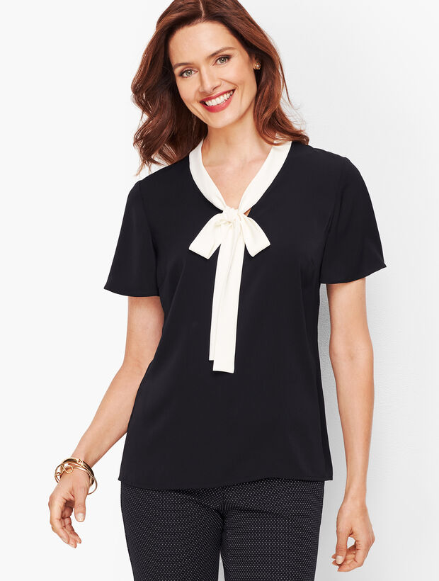 Flutter Sleeve Tie Top - Tipped