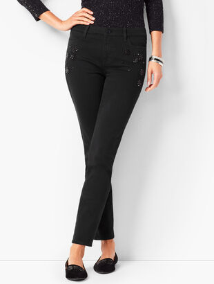 Crystal Embellished Slim Ankle Jeans - Never Fade Black
