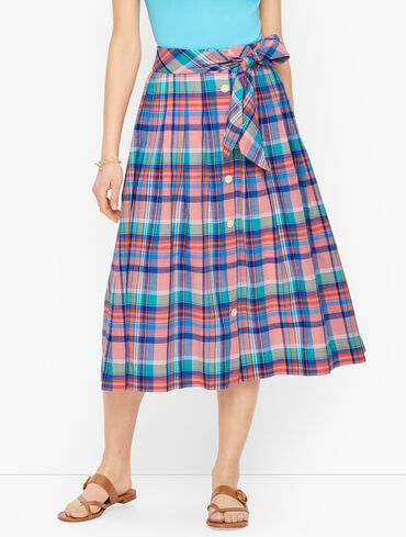 Button Front Skirt - Magical Madras