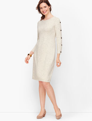 Kitty Tweed Button Sleeve Sweater Dress