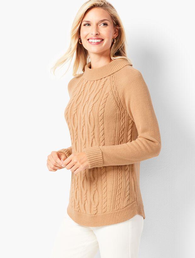 136843a707b050 Cotton Cable Portrait-Collar Sweater