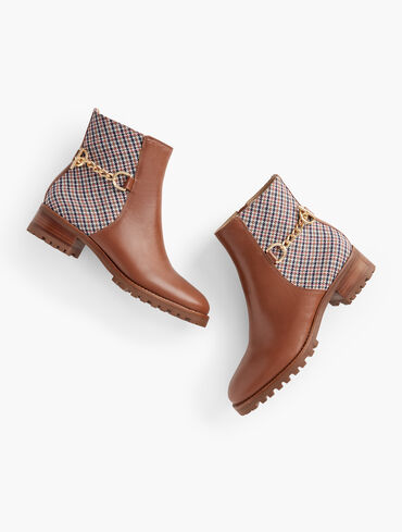 Tish Chain Leather Ankle Boots
