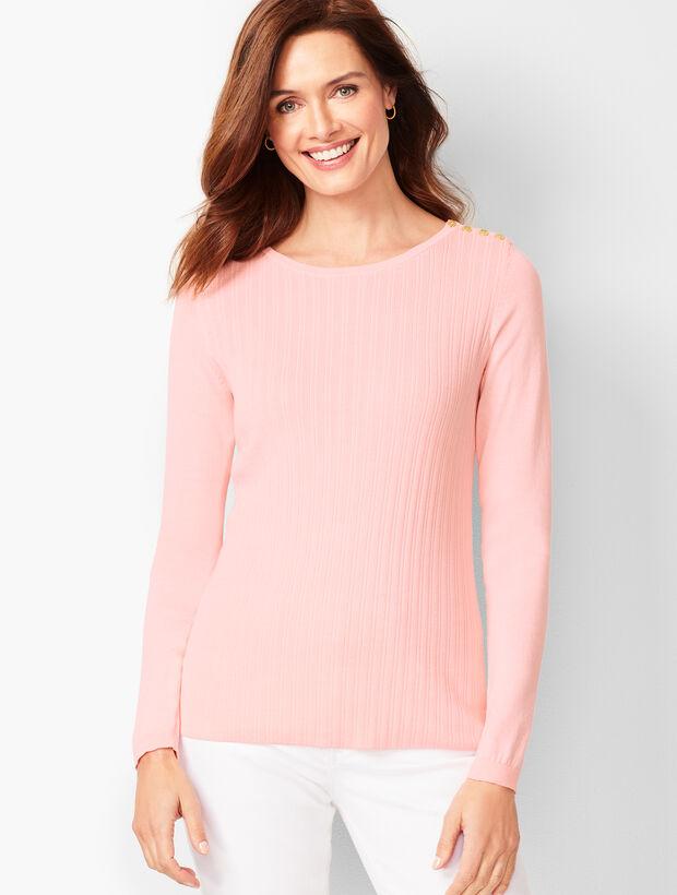 Button-Shoulder Crewneck Sweater