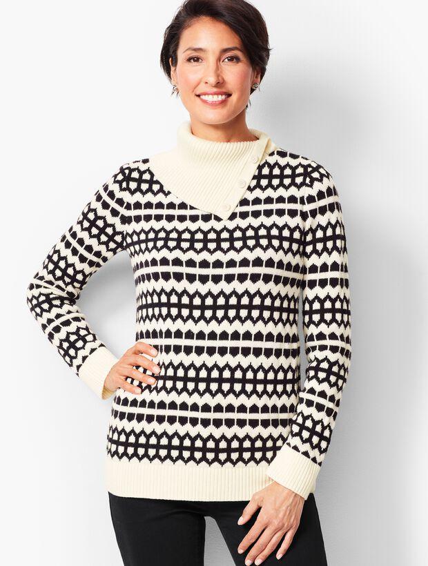 Geo-Print Button-Neck Sweater