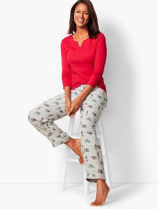 Pajama Set - Holiday-Print Flannel