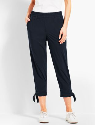Woven Ankle-Tie Crop