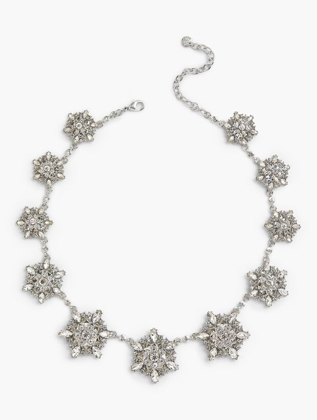 Crystal Snowflake Statement Necklace