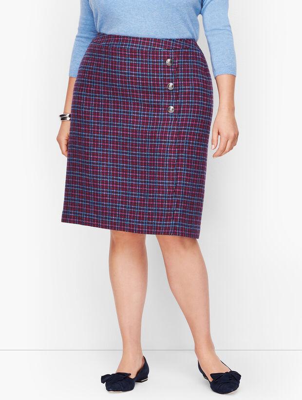 Faux Wrap A-Line Skirt - Plaid