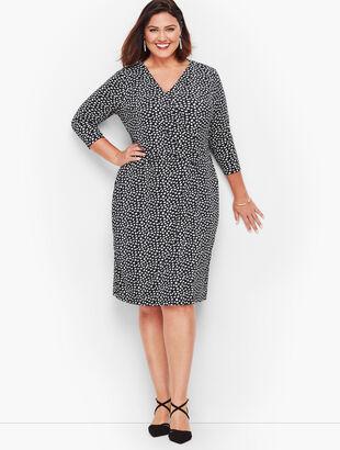Heart Print Faux Wrap Jersey Dress