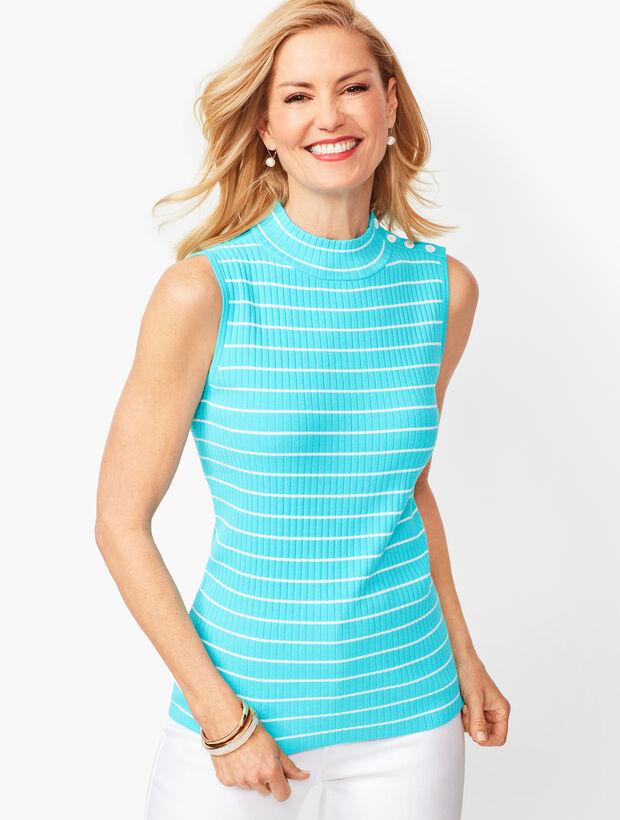 Sleeveless Ribbed Sweater - Stripe