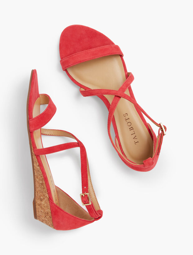 Capri Cross-Strap Mini-Wedge Sandals - Suede