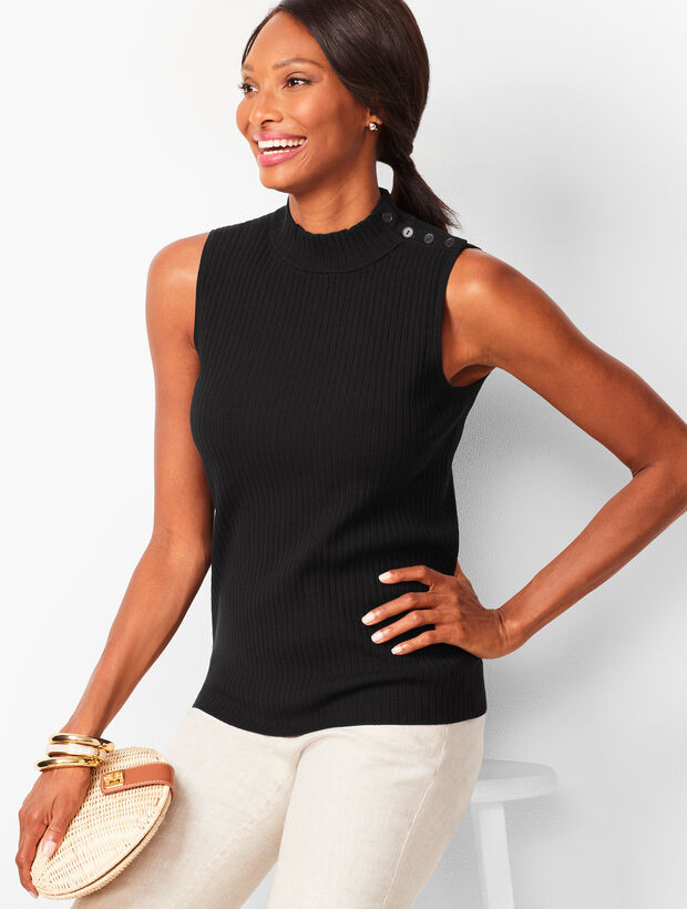 Sleeveless Ribbed Sweater - Solid