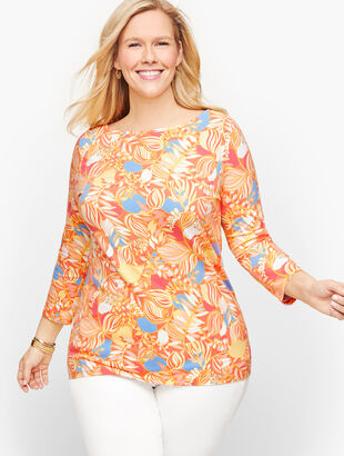Cotton Bateau Neck Tee - Colorful Leaves