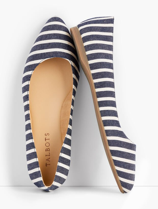 Poppy Pointed-Toe Ballet Flats - Stripe
