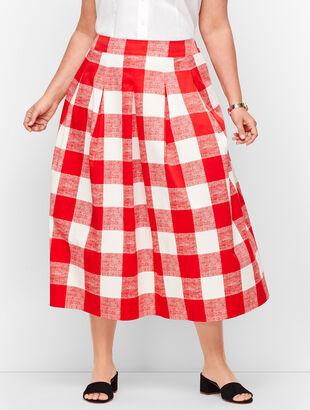 Pleated Gingham Full Skirt
