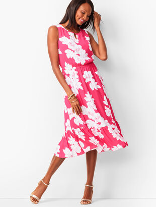 Floral Flounce-Hem Midi Dress