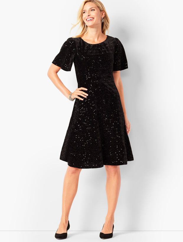 Velvet Sequined Fit & Flare Dress