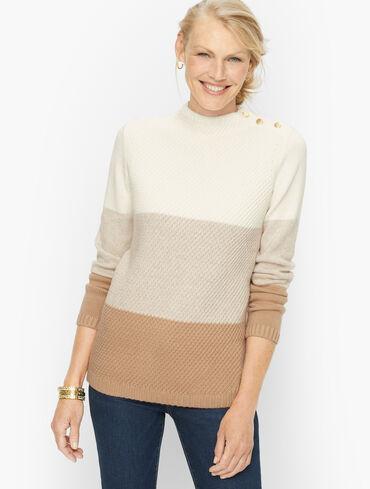 Colorblock Mockneck Pullover