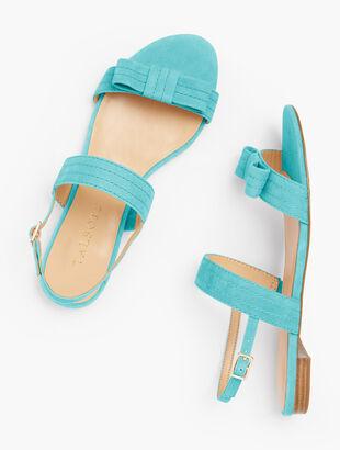 Keri Stitched-Bow Sandals - Suede