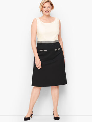 Ponte Grosgrain-Trim Sheath Dress - Colorblock