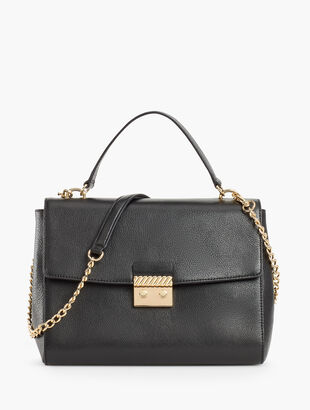 Leather Pushlock Satchel