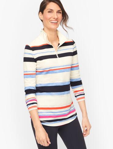 Cool Stripe Mock Neck Half Zip Pullover