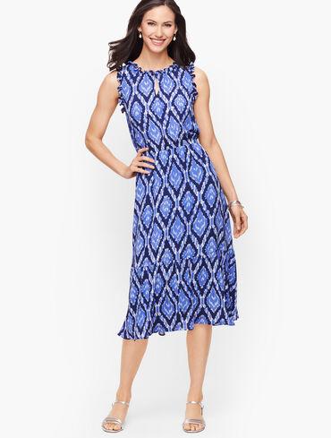 Ruffle Trim Fit & Flare Dress - Cabana Ikat