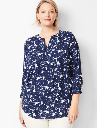 Banded-Collar Popover - Floral